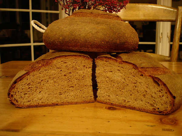 Loosely based on BBA Miche and Hamelman Mixed-Flour Miche.